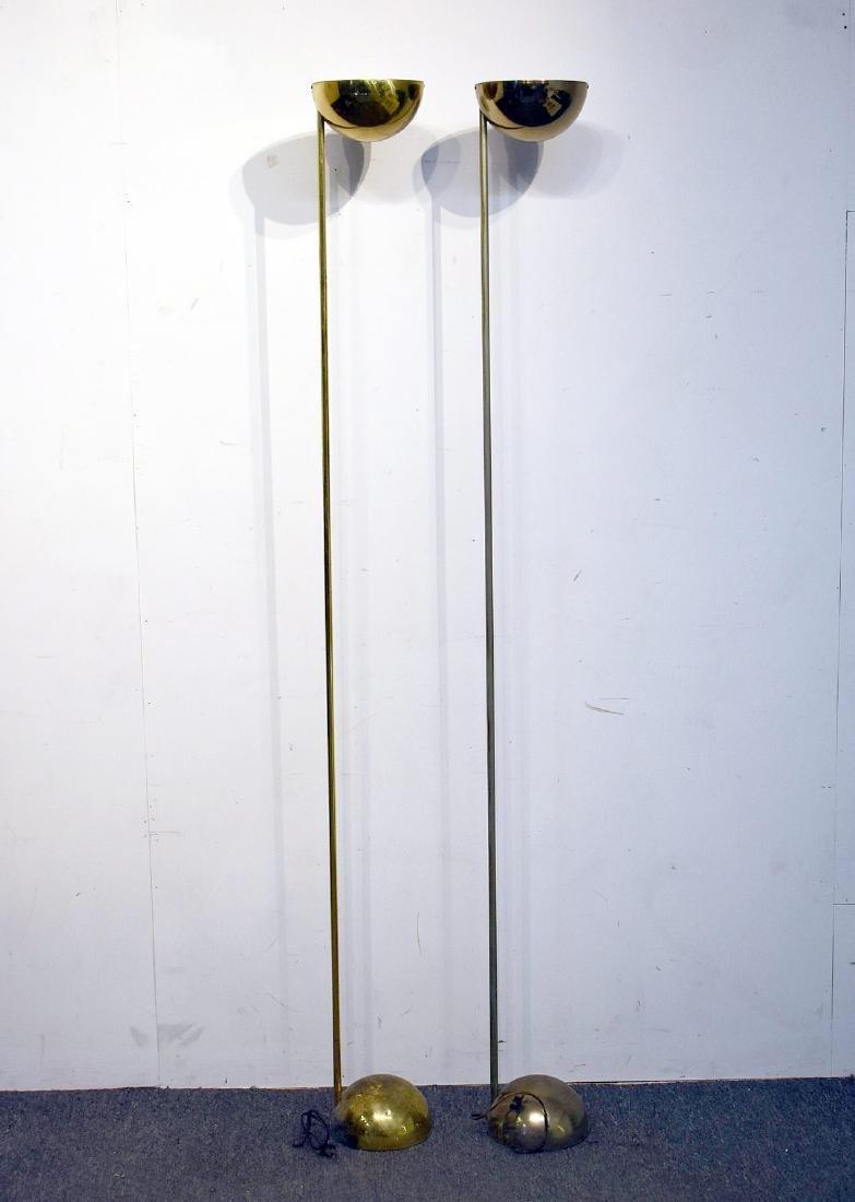 Pair of Brass Modernist Floor Lamps