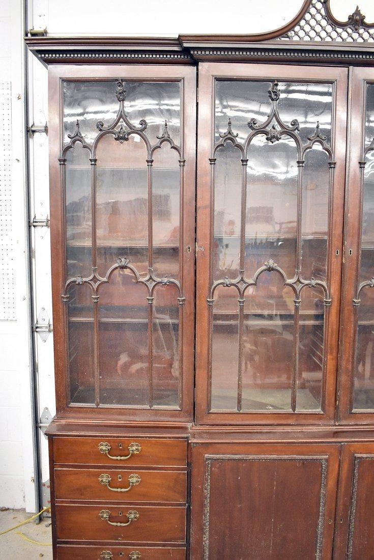 Georgian Mahogany Breakfront Bookcase - 4