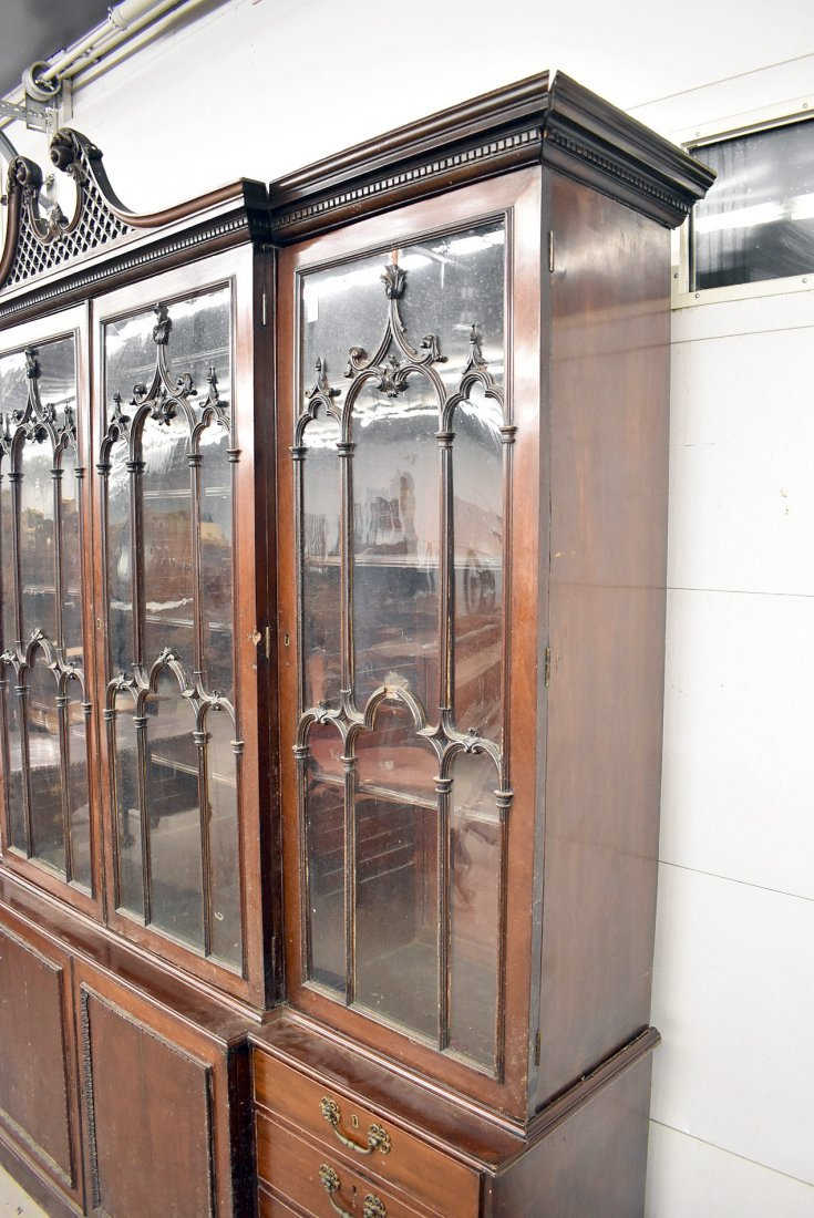 Georgian Mahogany Breakfront Bookcase - 5