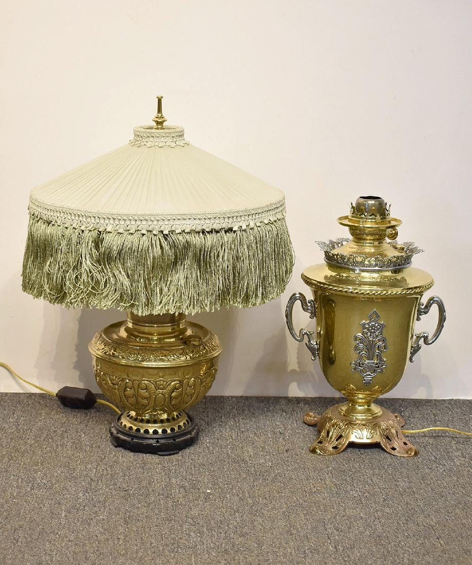 Two Brass Parlor Lamps