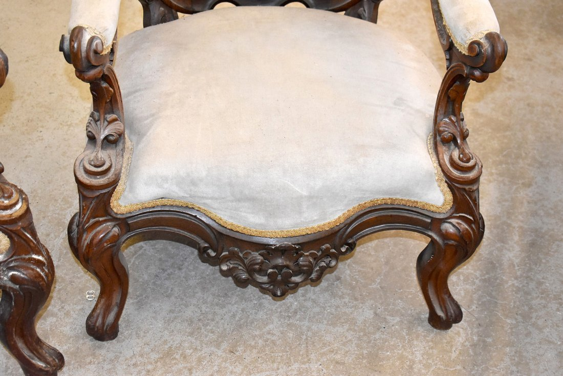 Pair of Victorian Rococo Carved Arm Chairs - 3