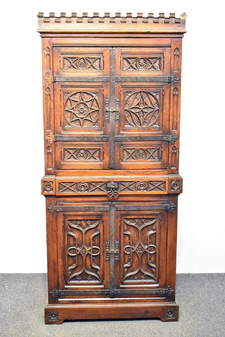 Gothic Style Carved Oak Cabinet