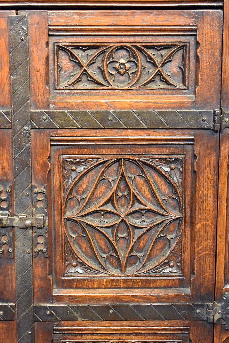 Gothic Style Carved Oak Cabinet - 2