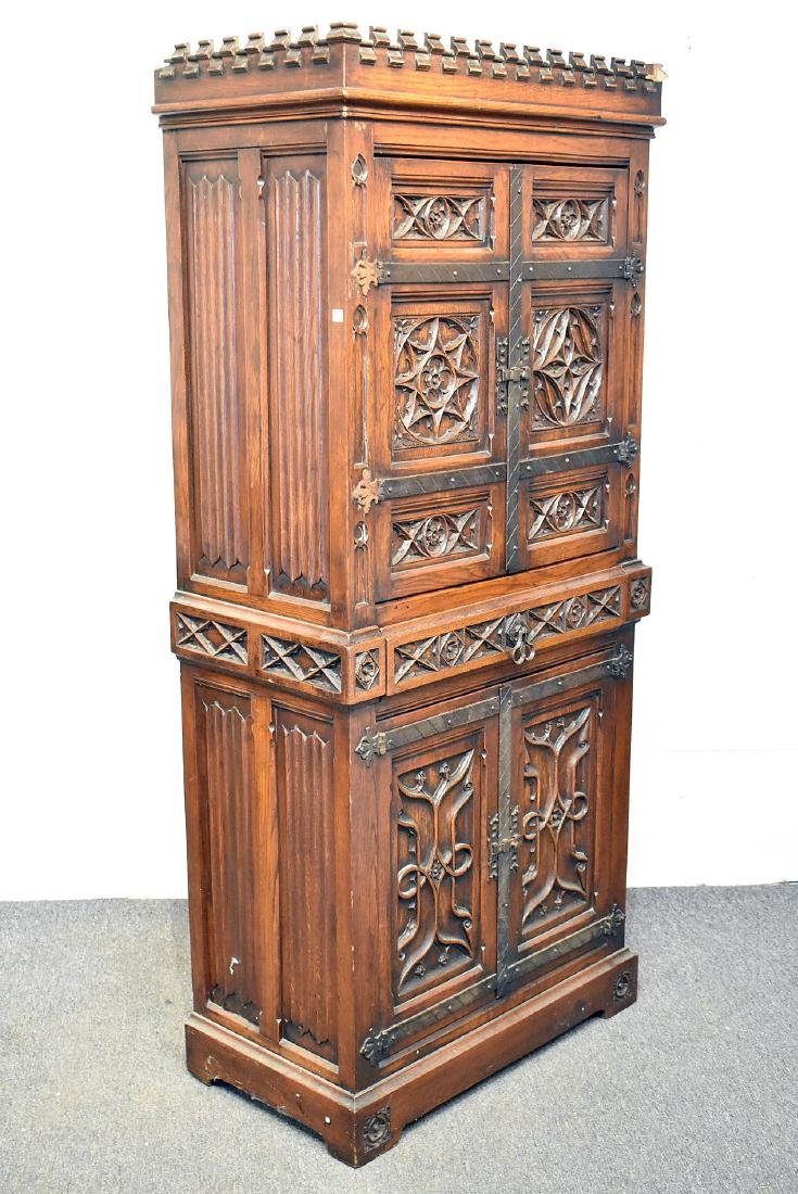 Gothic Style Carved Oak Cabinet - 3