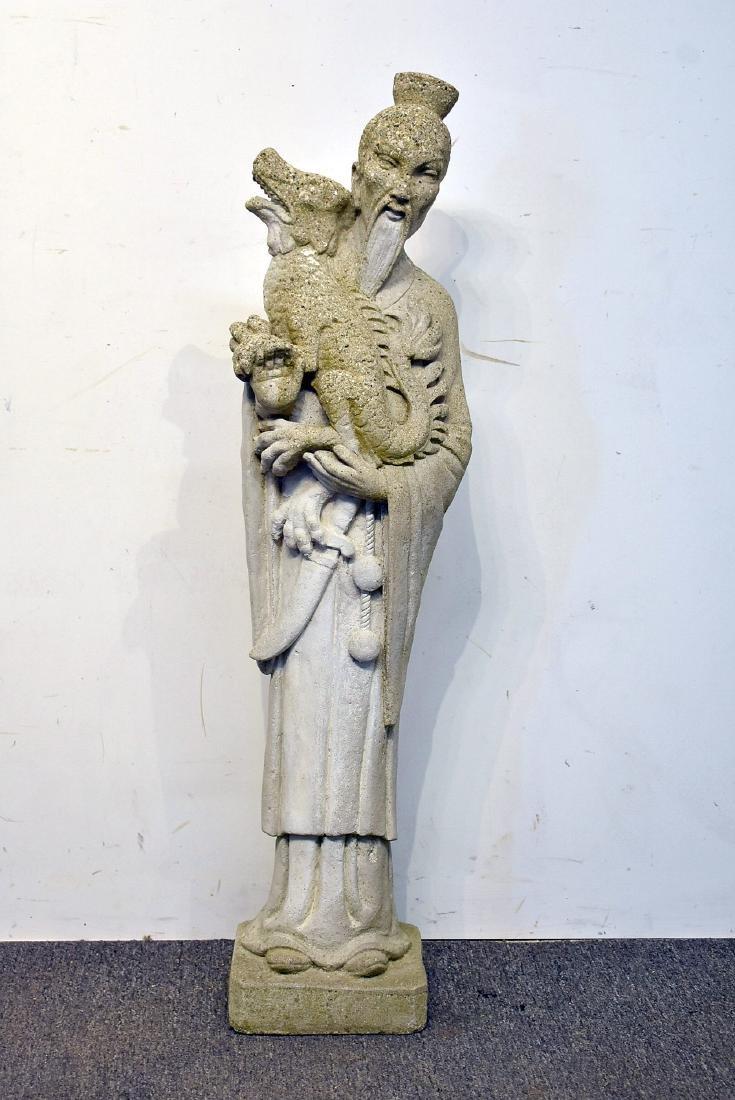 Cast Stone Asian Garden Statue: Figure with Dragon