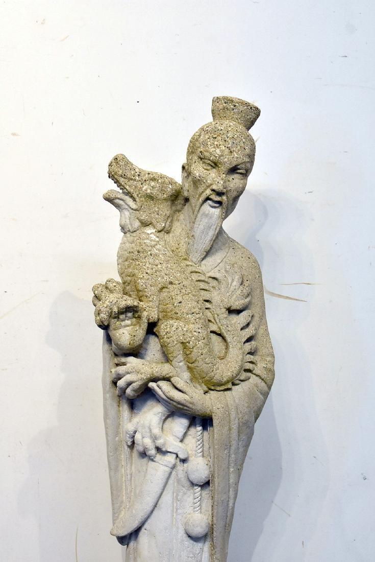 Cast Stone Asian Garden Statue: Figure with Dragon - 2