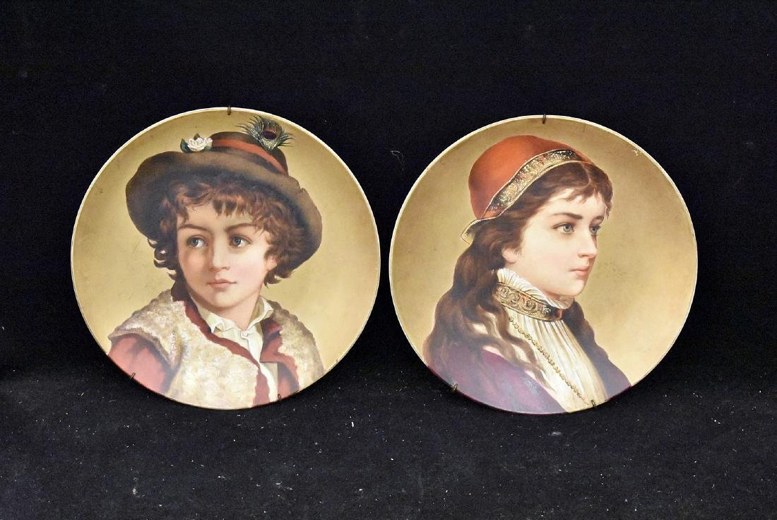 Pair of Vienna Porcelain Portrait Cabinet Plates