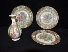 Chinese Export Rose Medallion Porcelain Grouping