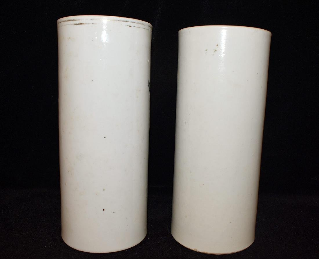 Pair of Chinese Porcelain Cylindrical Vases - 3