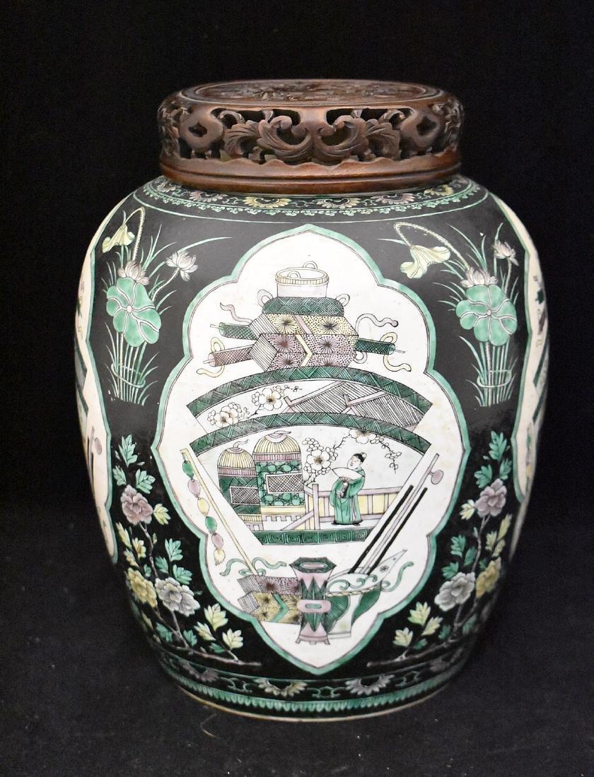 Chinese Famille Noir Porcelain Ginger Jar