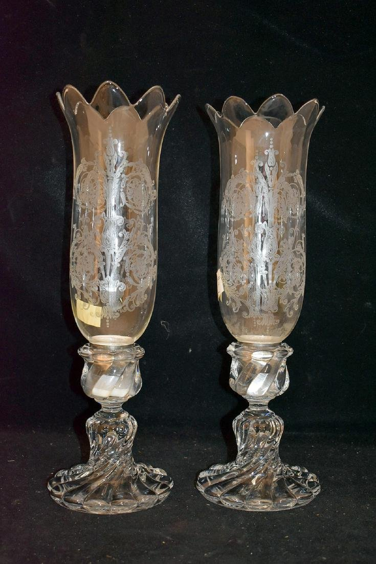 Pr. Baccarat Candlesticks with Hurricane Shades