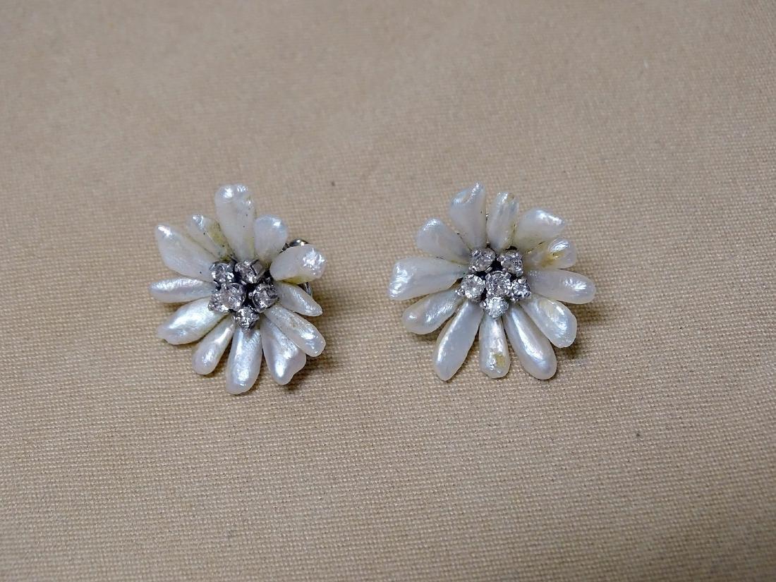 Pair of Freshwater Pearl & Diamond Earrings
