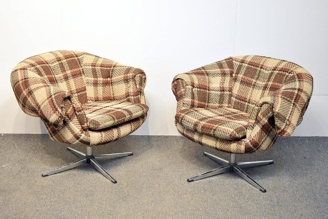 Pair of Overman Plaid Swivel Club Chairs