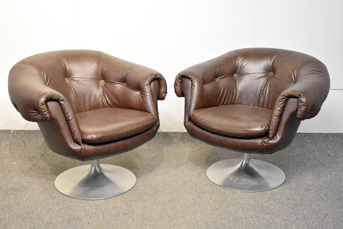 Pair of Overman Brown Swivel Club Chairs
