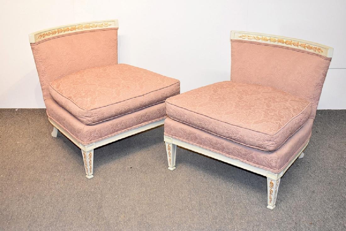 Pair of Carved and Painted Slipper Chairs