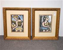 Pair of Modernist Gouache Abstract Portraits