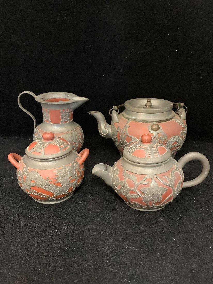 Chinese Four-Piece Pewter Yixing Tea Set