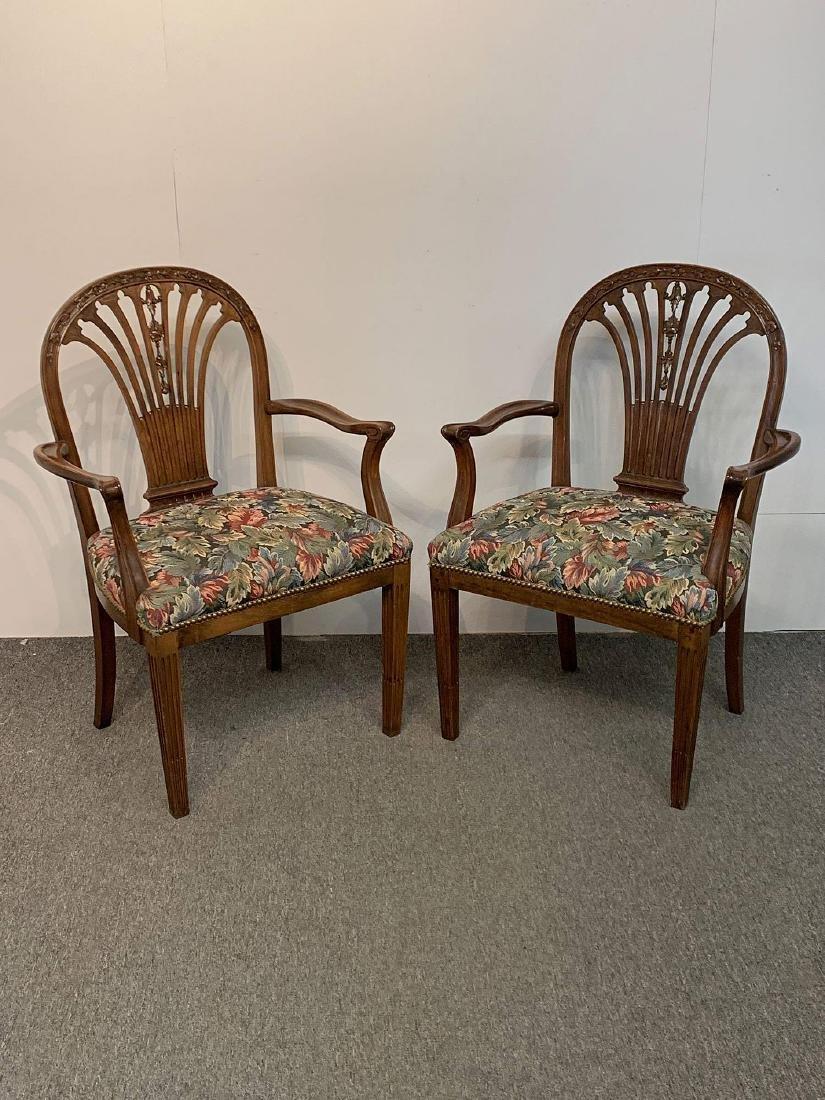 Pair of Hepplewhite Mahogany Carved Armchairs