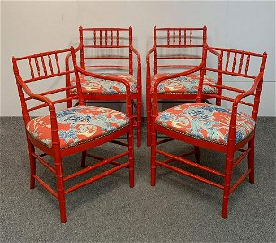 Four Red Painted Faux Bamboo Armchairs