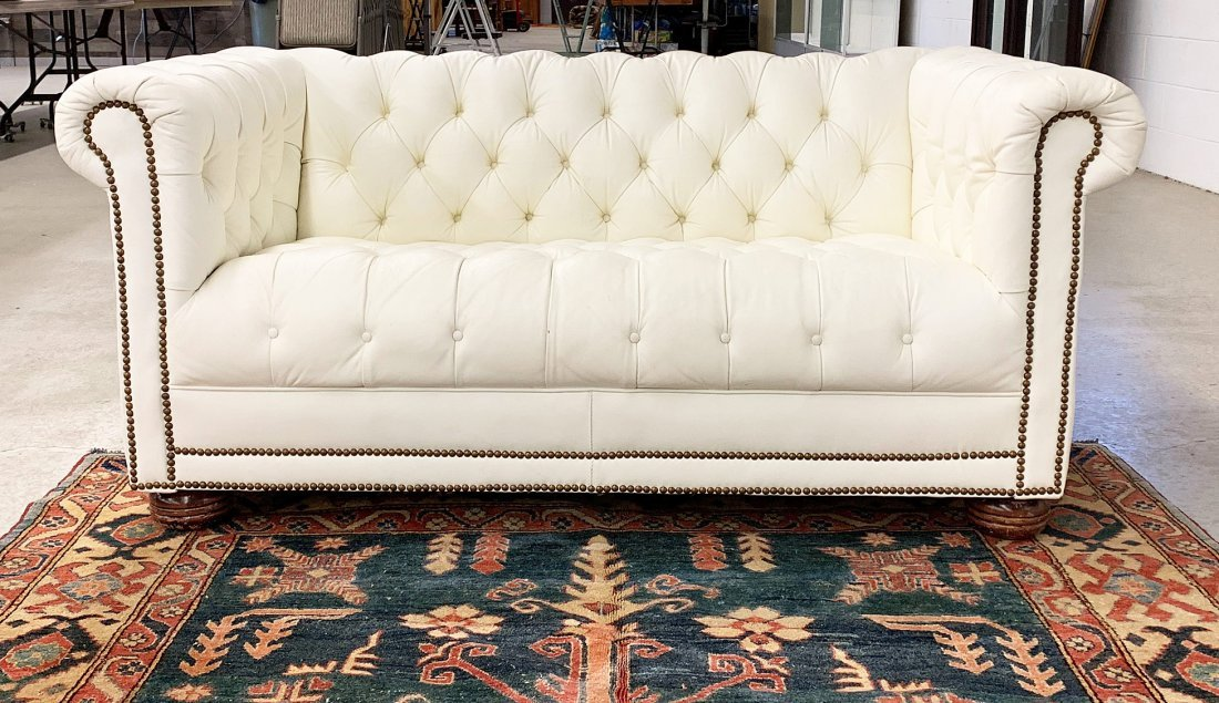 White Leather Chesterfield Loveseat