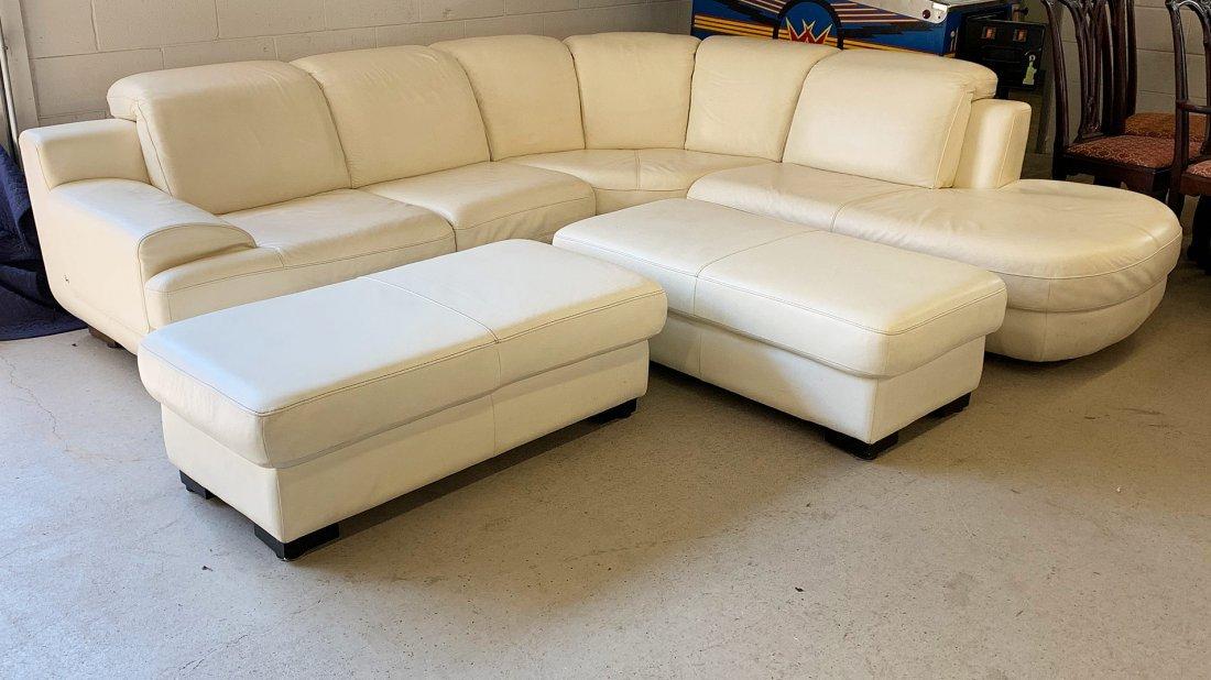 Italian White Leather Sectional Sofa
