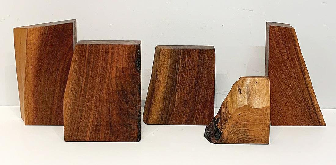 Five Free-edge Walnut Bookends