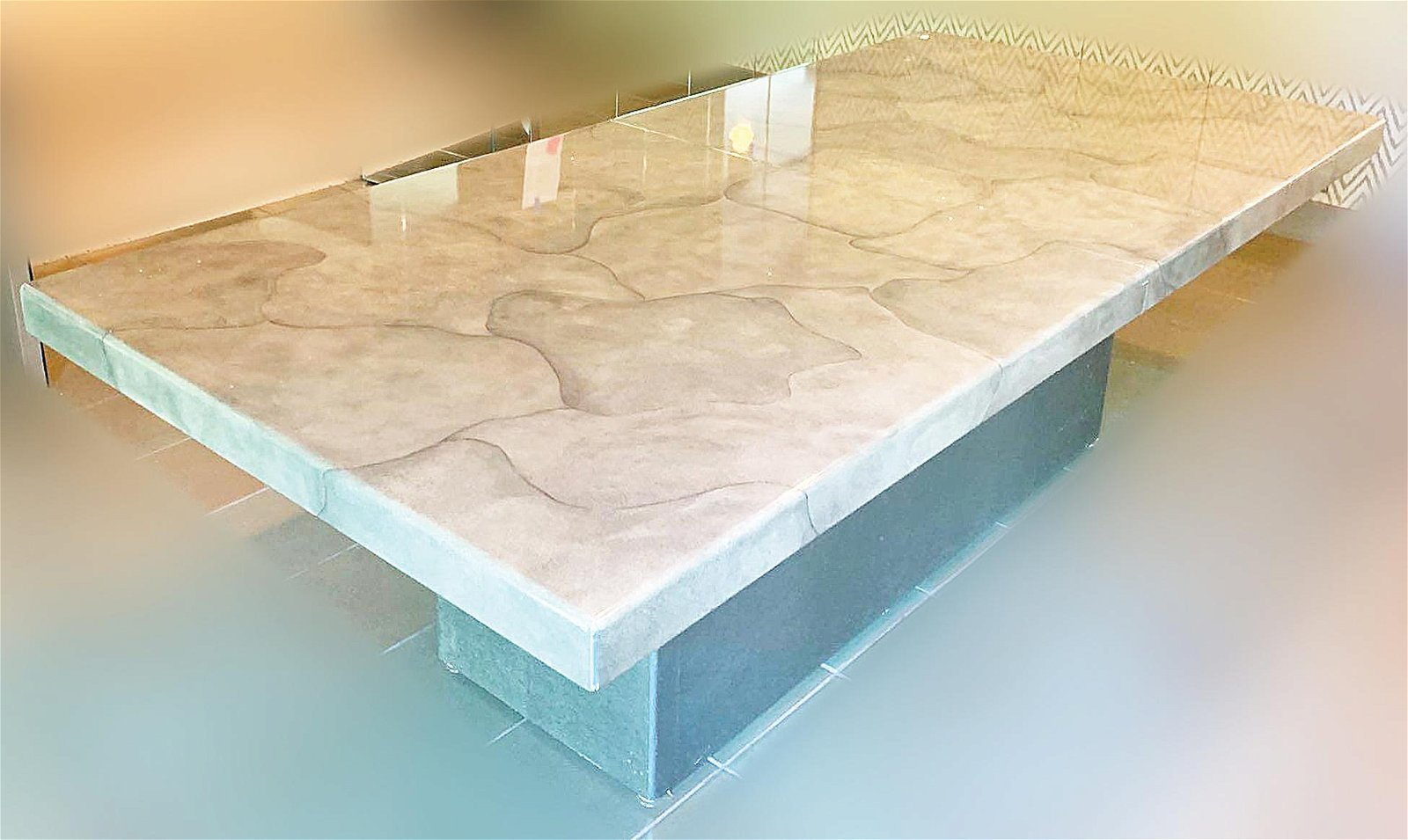 Custom Faux Lacquered Goatskin Dining Table