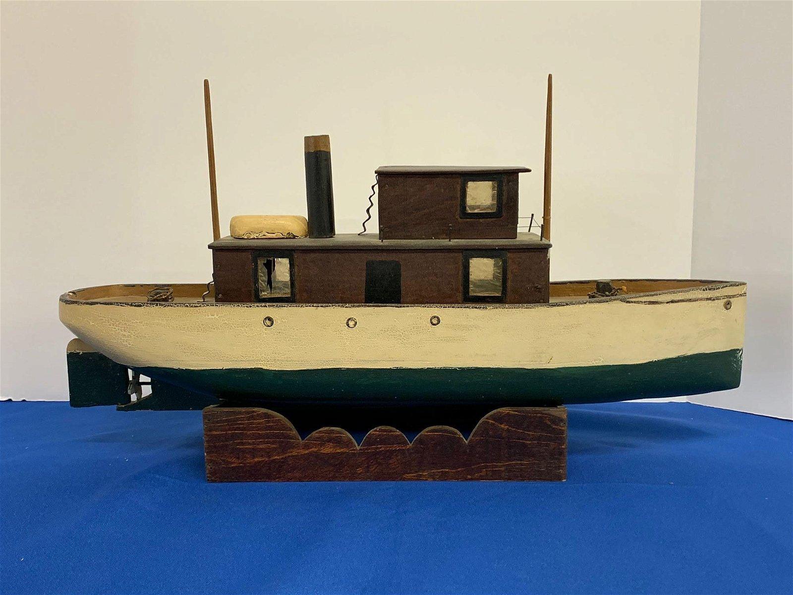 Folk Art Tugboat Ship Model