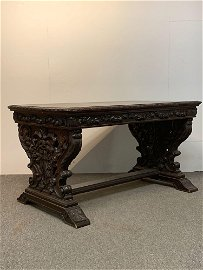 Renaissance Revival Carved Library Table