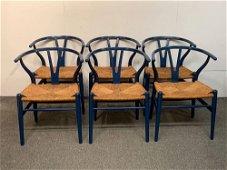 Six Hans Wegner Wishbone Chairs