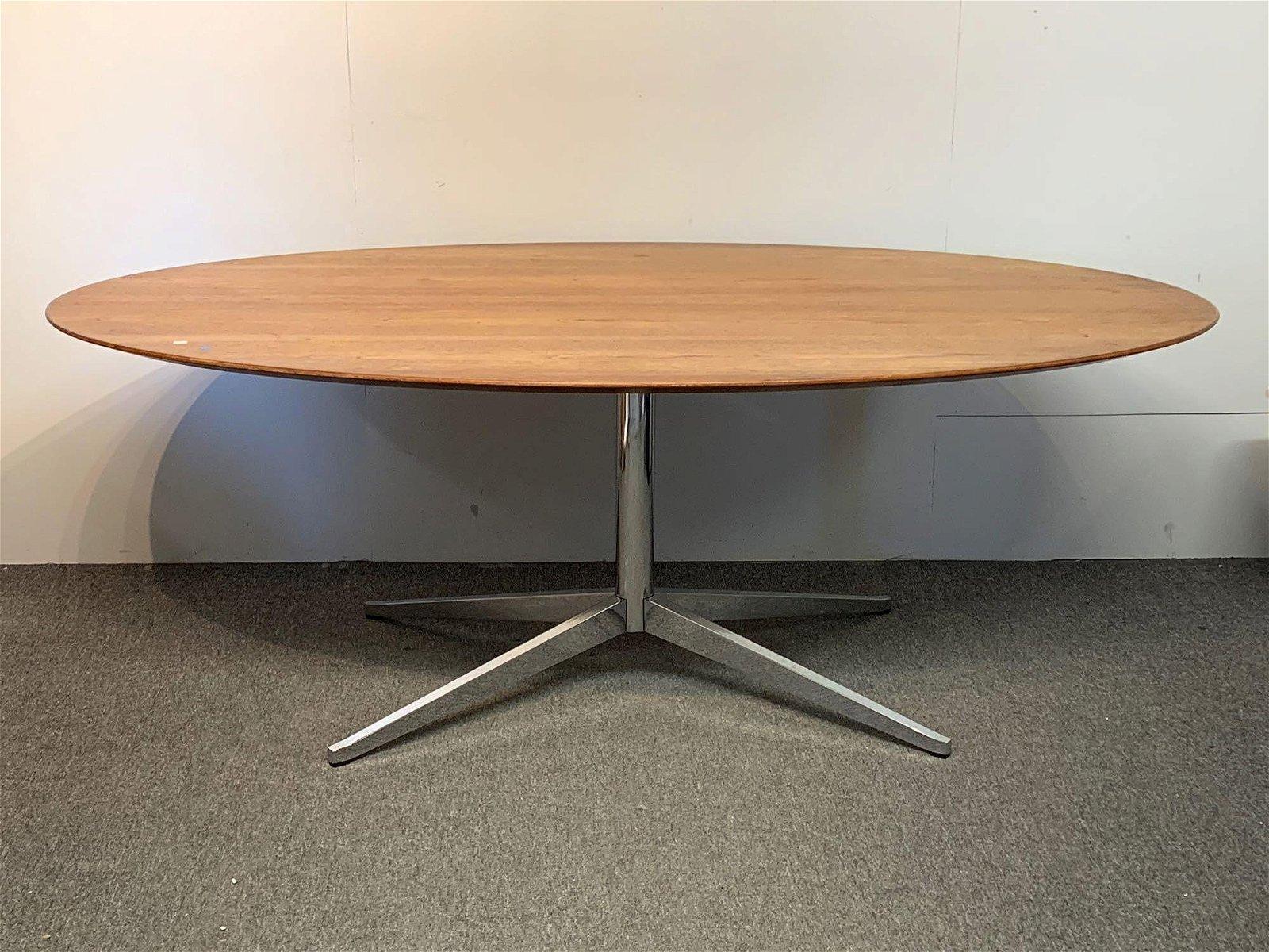 Florence Knoll Walnut & Chrome Dining Table