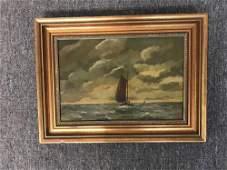 Alphonsus Josephus van Dijk. Oil/Panel, Sailboat