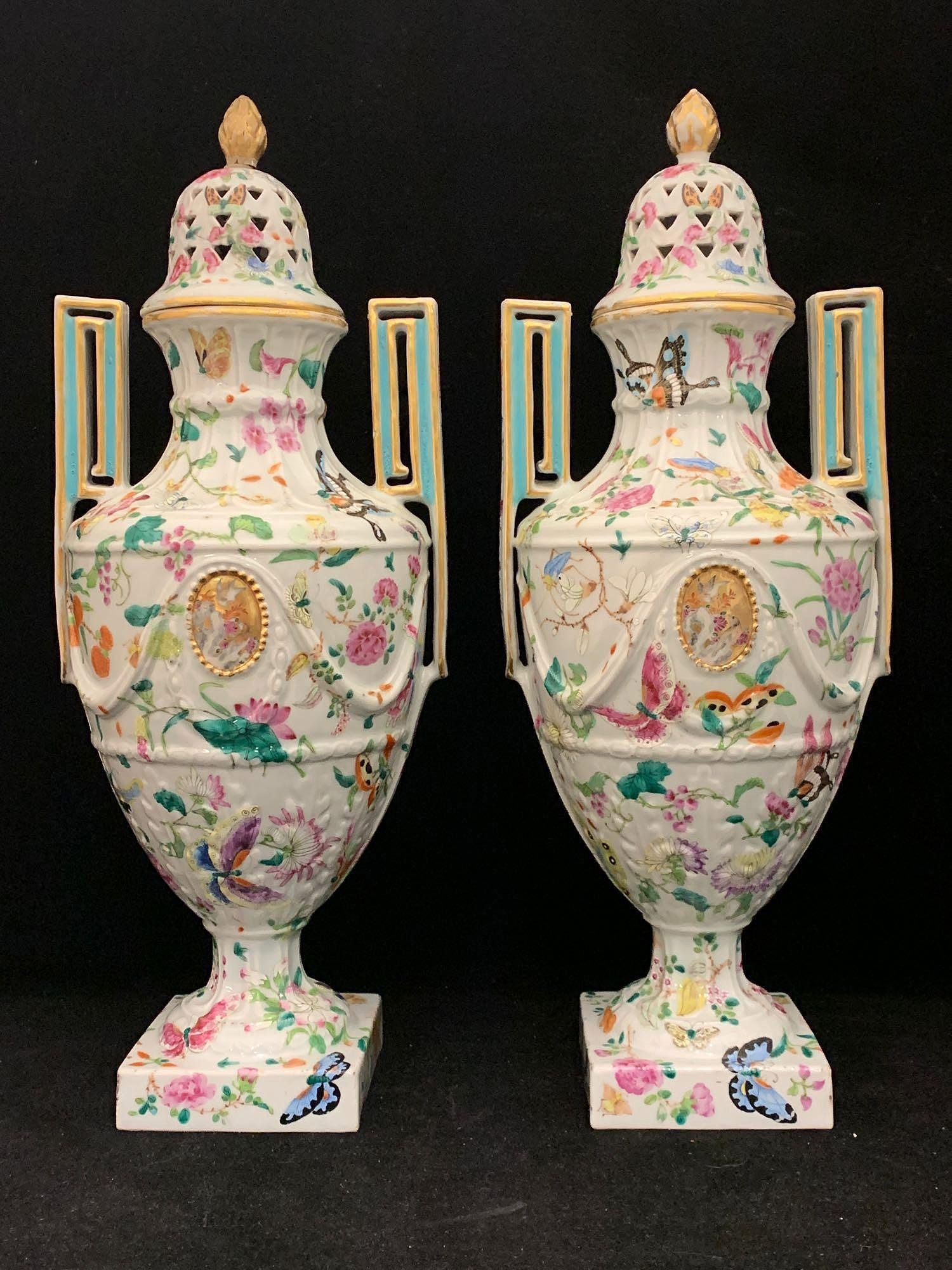 Pair of Chinese Famille Rose Porcelain Covered Vases