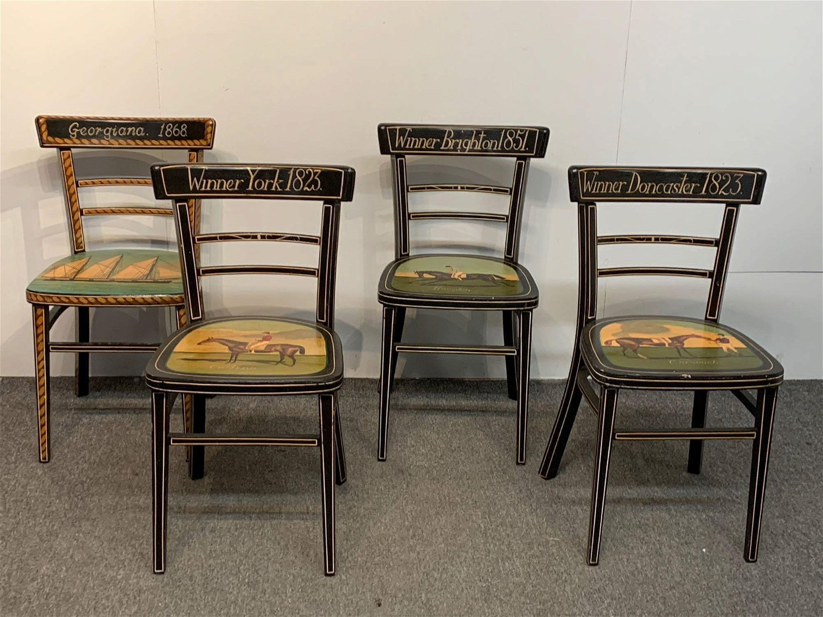 Four Paint Decorated Side Chairs