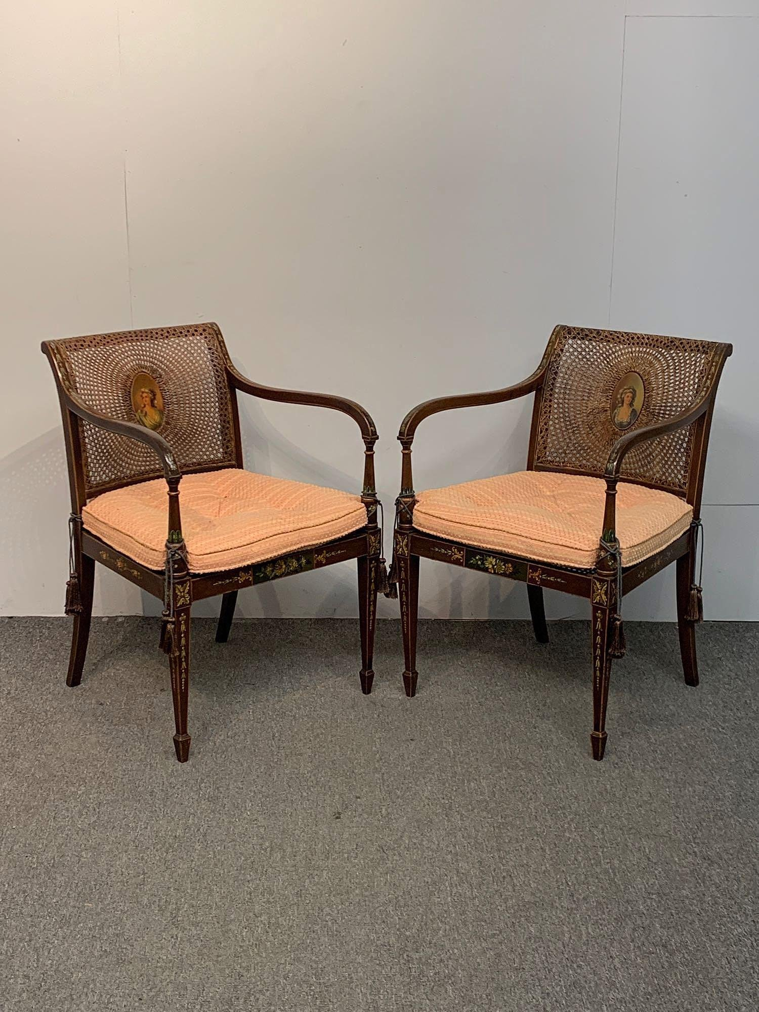 Pair of Adams Style Painted Armchairs