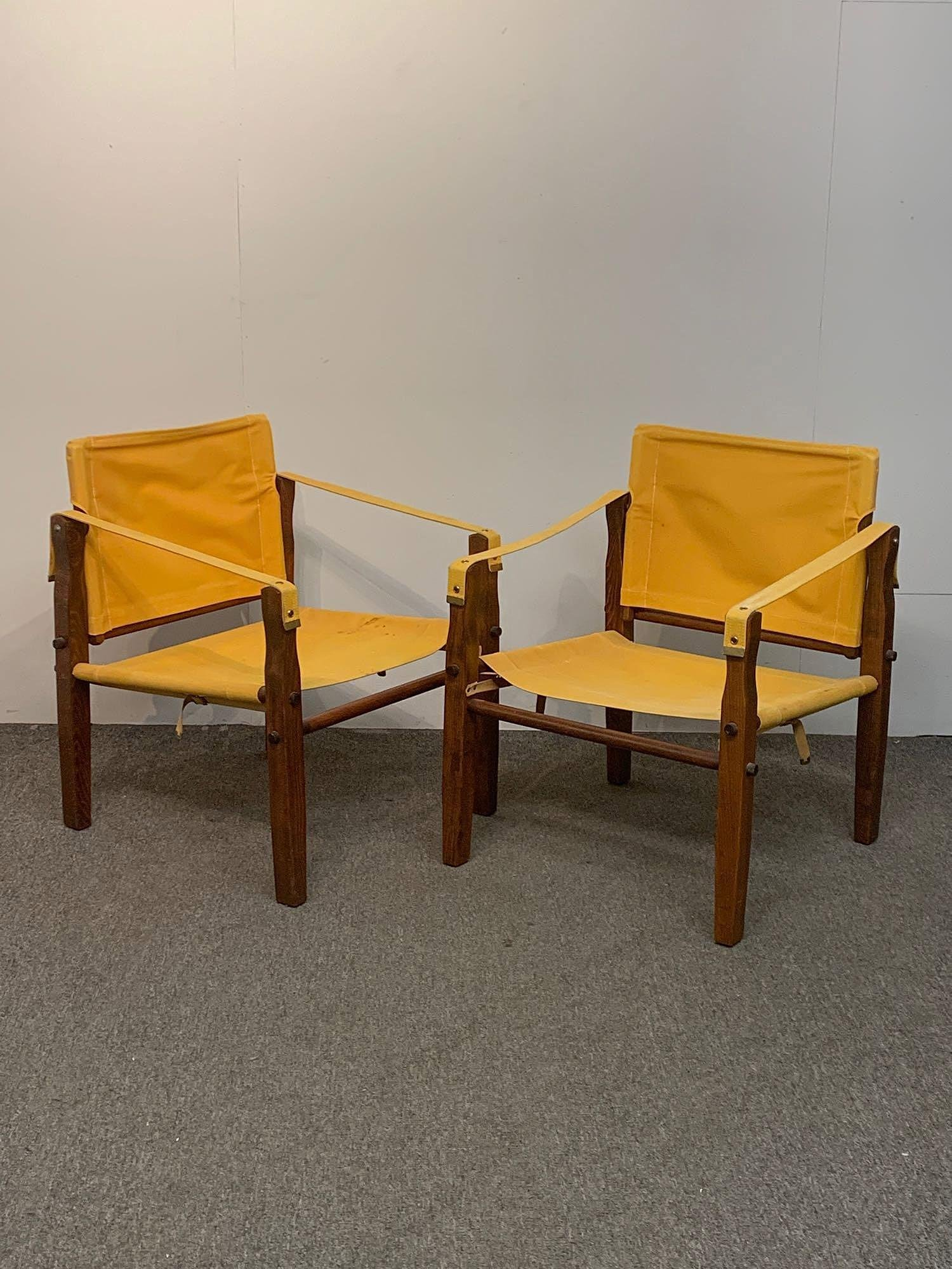 Two Mid-Century Modern Safari Chairs
