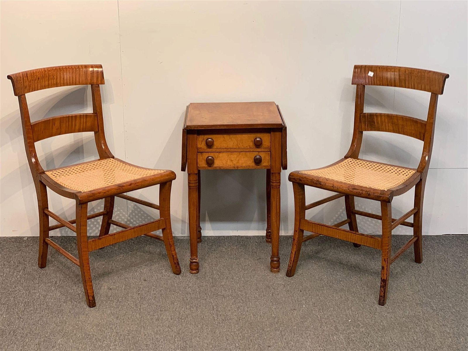 Pair of Federal Tiger Maple Chairs and Stand