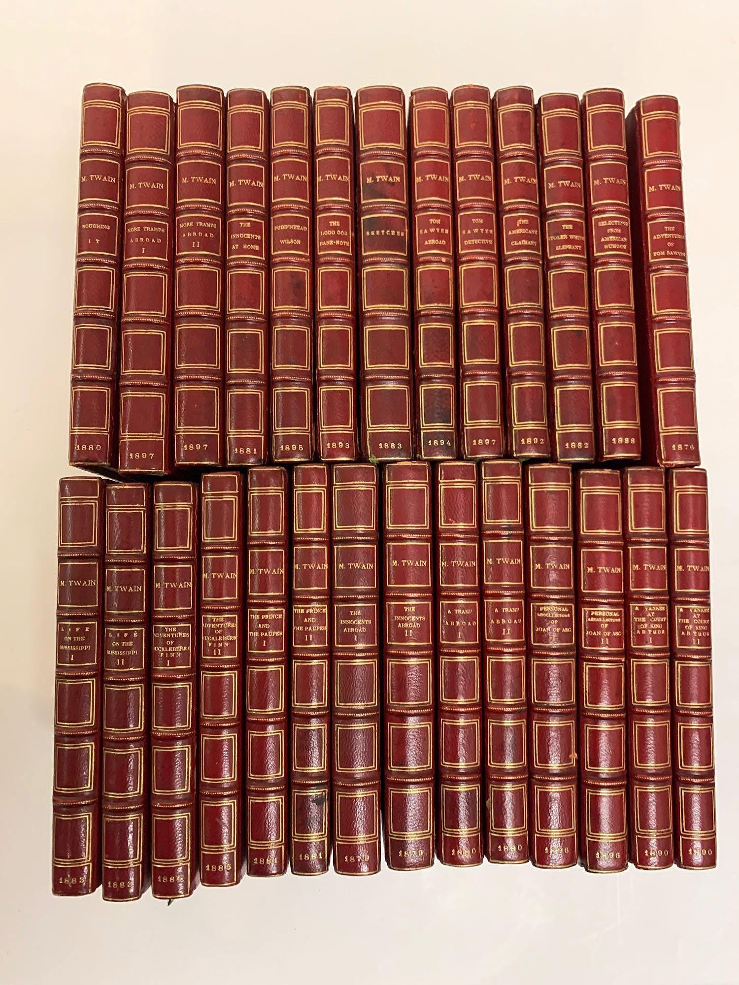 27 Vols. Mark Twain Leather Bound Books