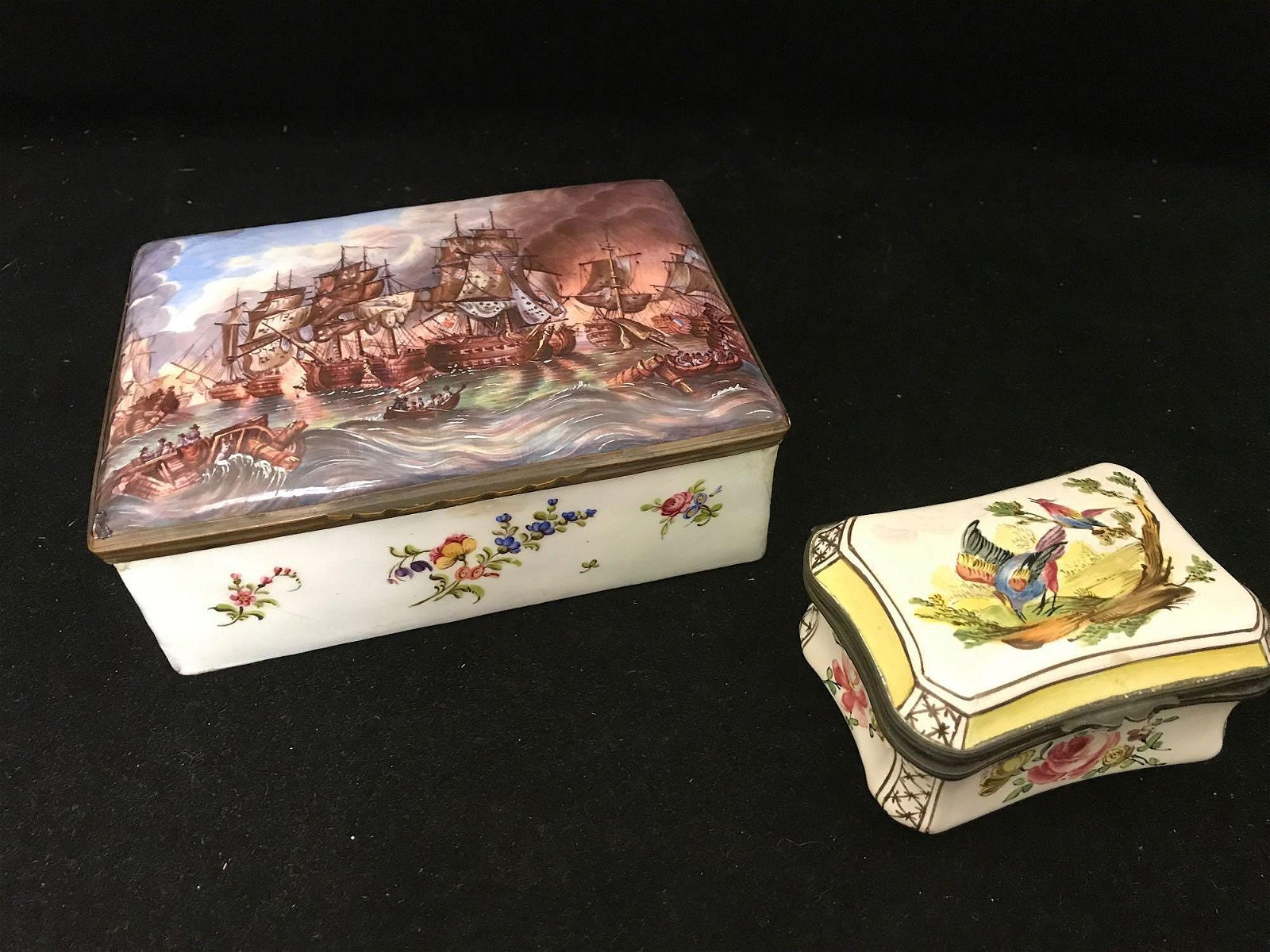 Two Antique French Enameled Hinged Boxes