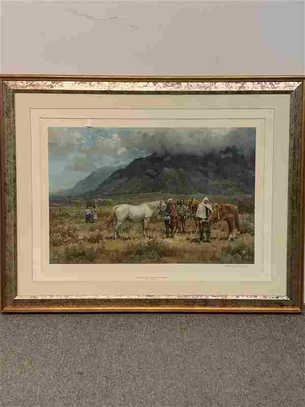Melvin Warren Lithograph. Selling The White Stallion