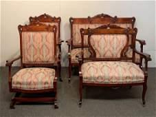 Four Piece Victorian Mahogany Parlor Suite