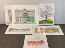 Seven Bruce Johnson Lithographs