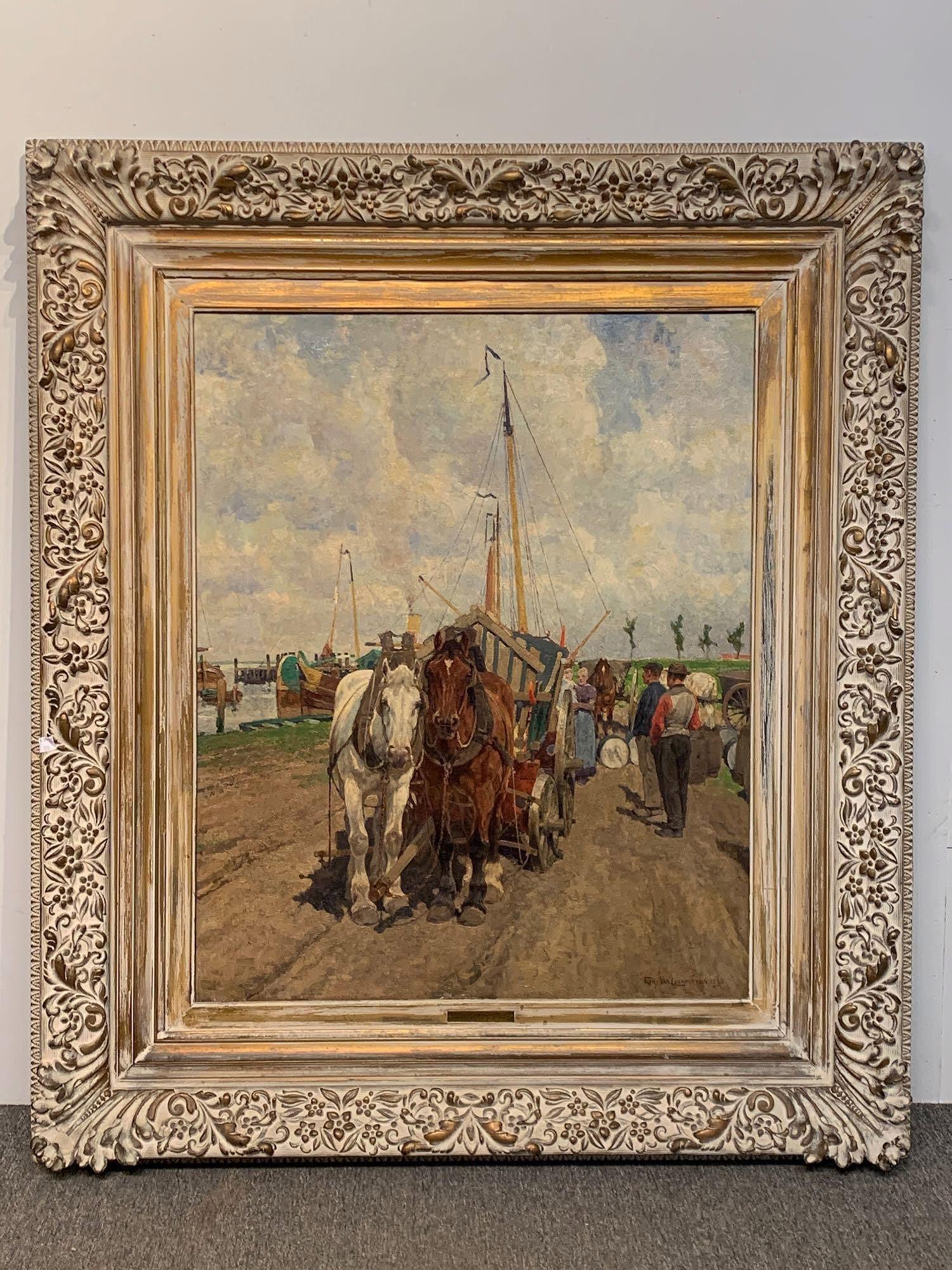 Frans Van Leemputten. Oil on Canvas, Harbor Scene