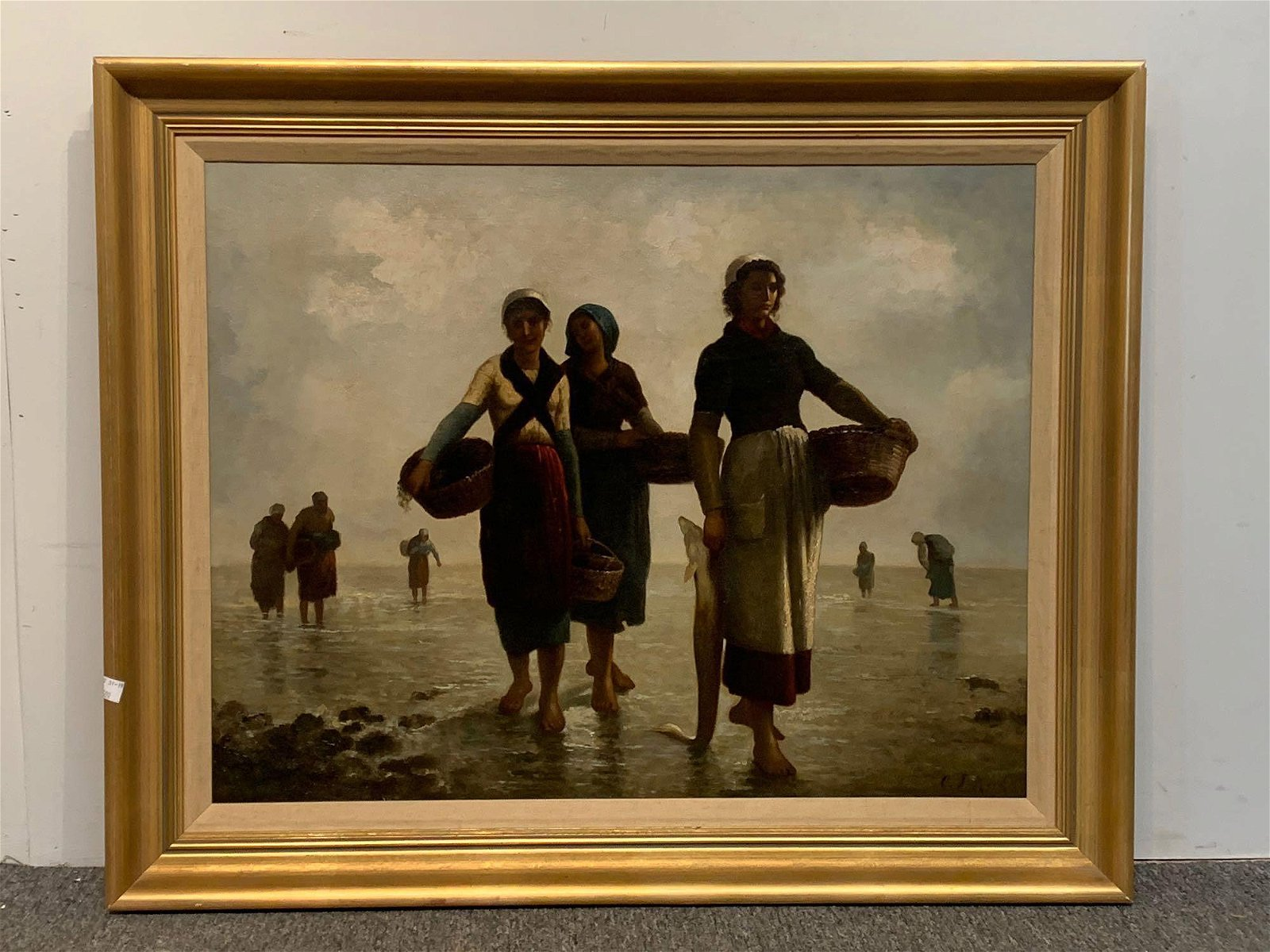 19th C. Oil on Canvas, Women On Shoreline