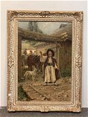 Jaroslav Vesin. Oil on Canvas, Gypsies In Village