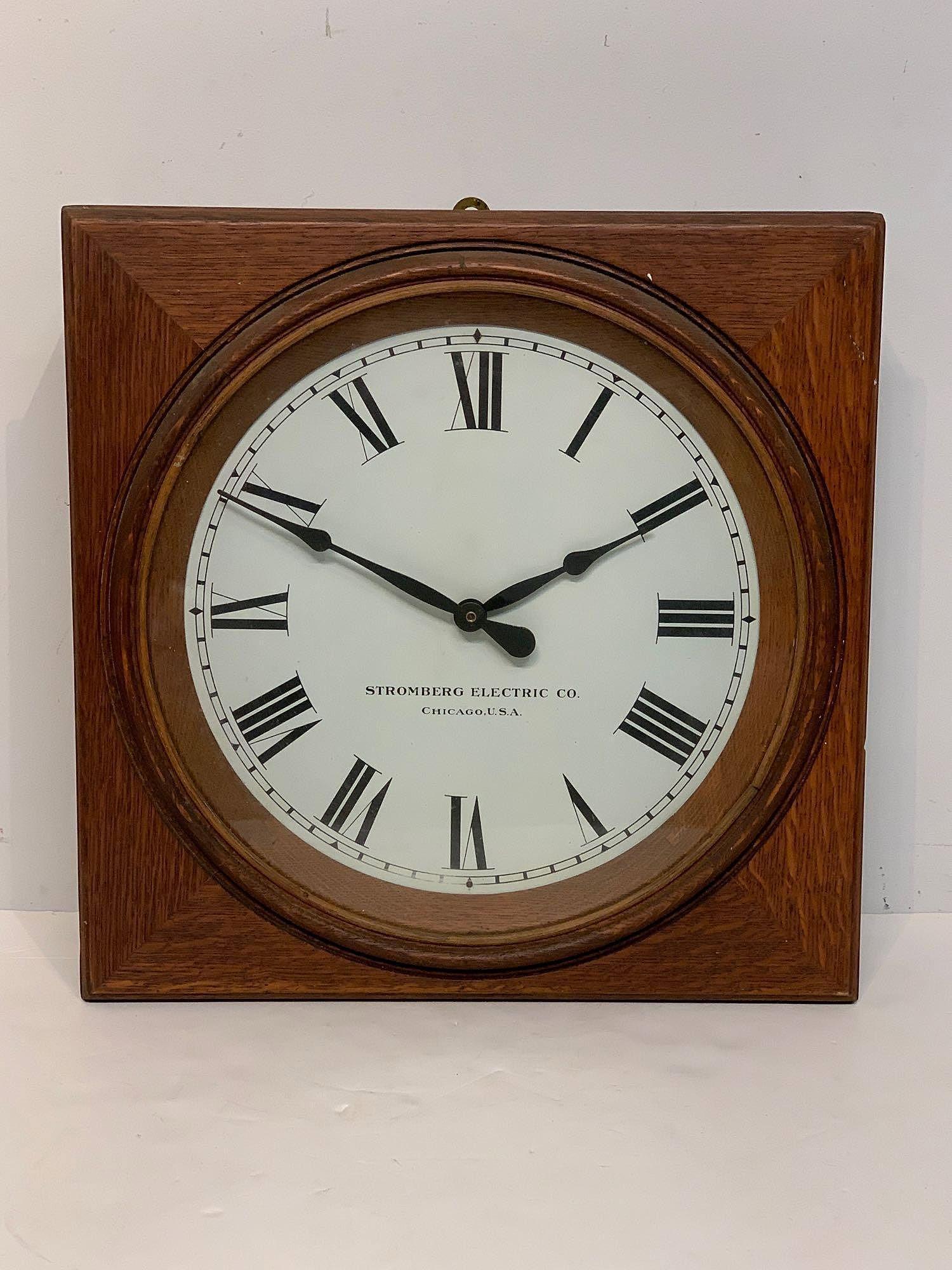 Stromberg Oak Case Electric Wall Clock