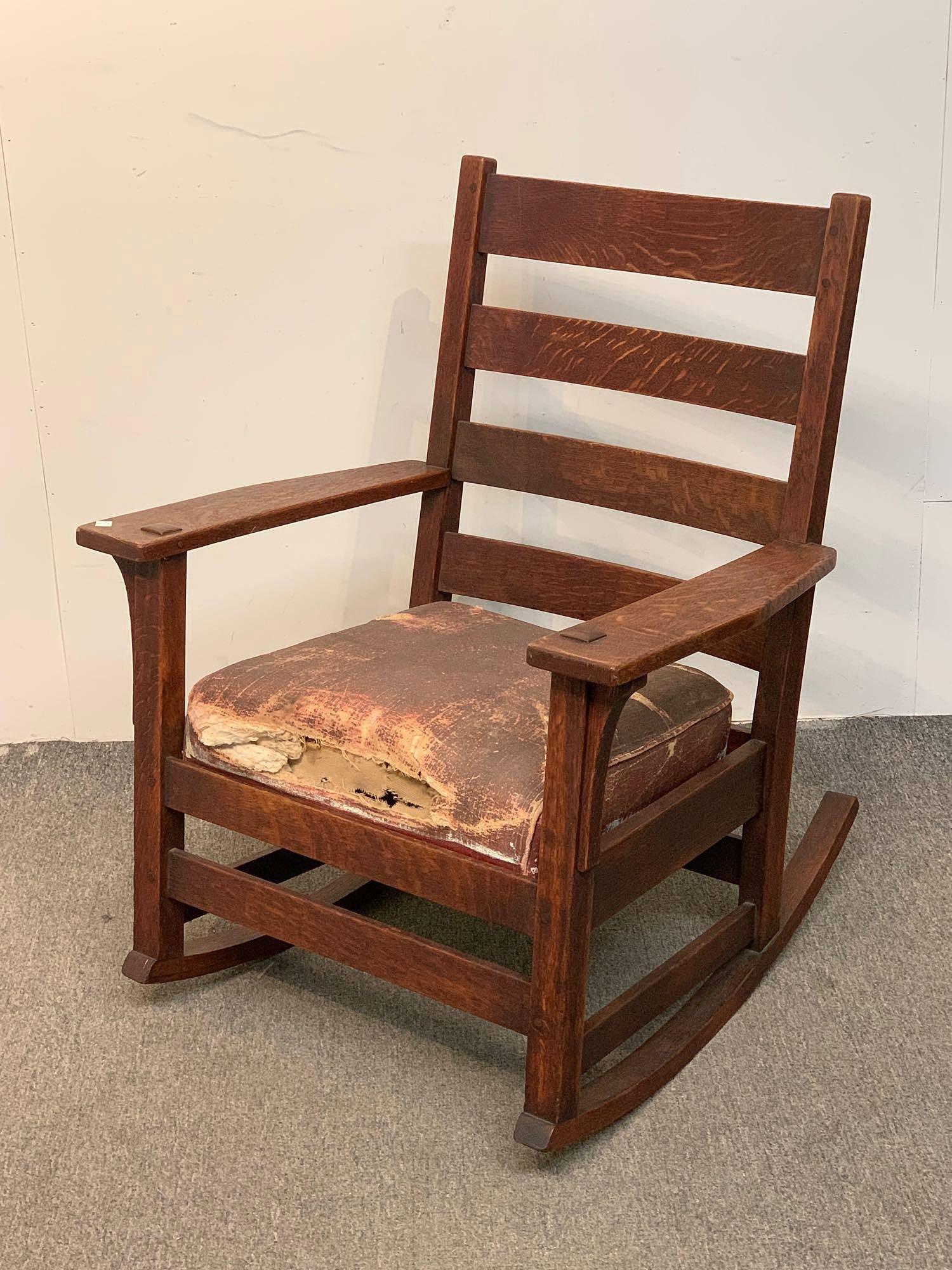 L & JG Stickley Oak Rocking Chair