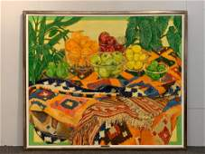 Loren Dunlap. Oil/Canvas, Still Life With Fruit