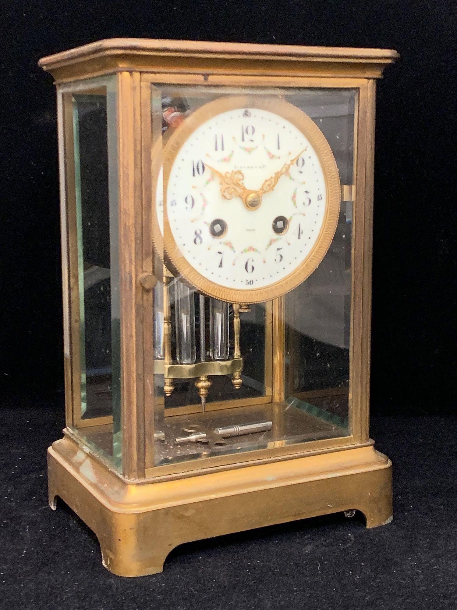 Tiffany & Co. Crystal Regulator Shelf Clock