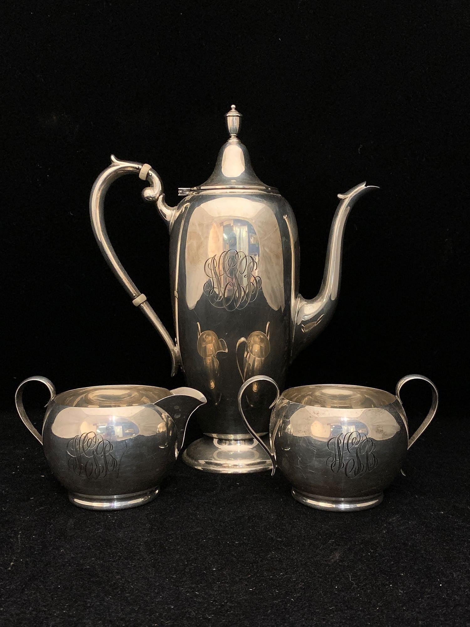 Three-piece Gorham Sterling Silver Tea Set